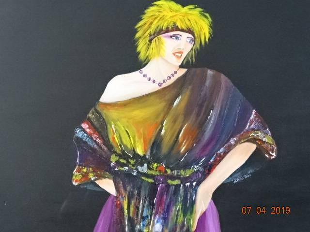 Stoere dame (150x100cm canvas olieverf)